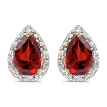 10k Yellow Gold Pear Garnet And Diamond Earrings