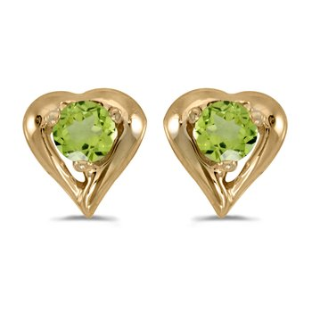10k Yellow Gold Round Peridot Heart Earrings