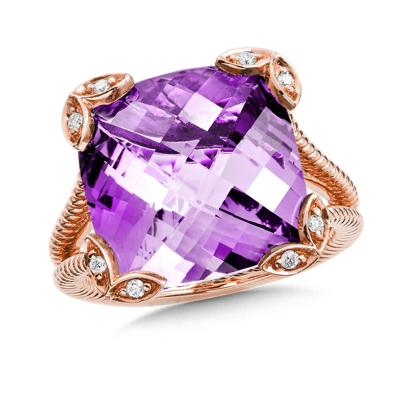 Colore Oro Amethyst & Diamond Statement Ring in 14K Rose Gold