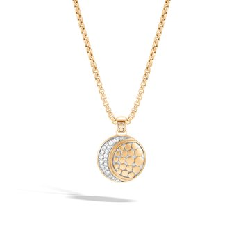 Dot Moon Phase Pendant Necklace in 18K Gold with  Diamonds