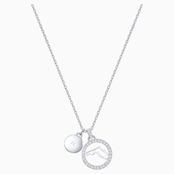 Lena Florida Pendant, White, Rhodium plating