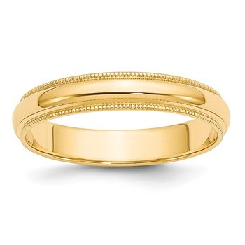 14k 4mm Milgrain Half-Round Wedding Band