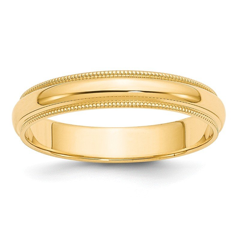 Quality Gold 14k 4mm Milgrain Half-Round Wedding Band
