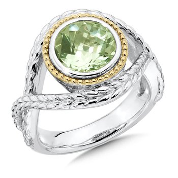 Sterling Silver Green Amethyst Ring