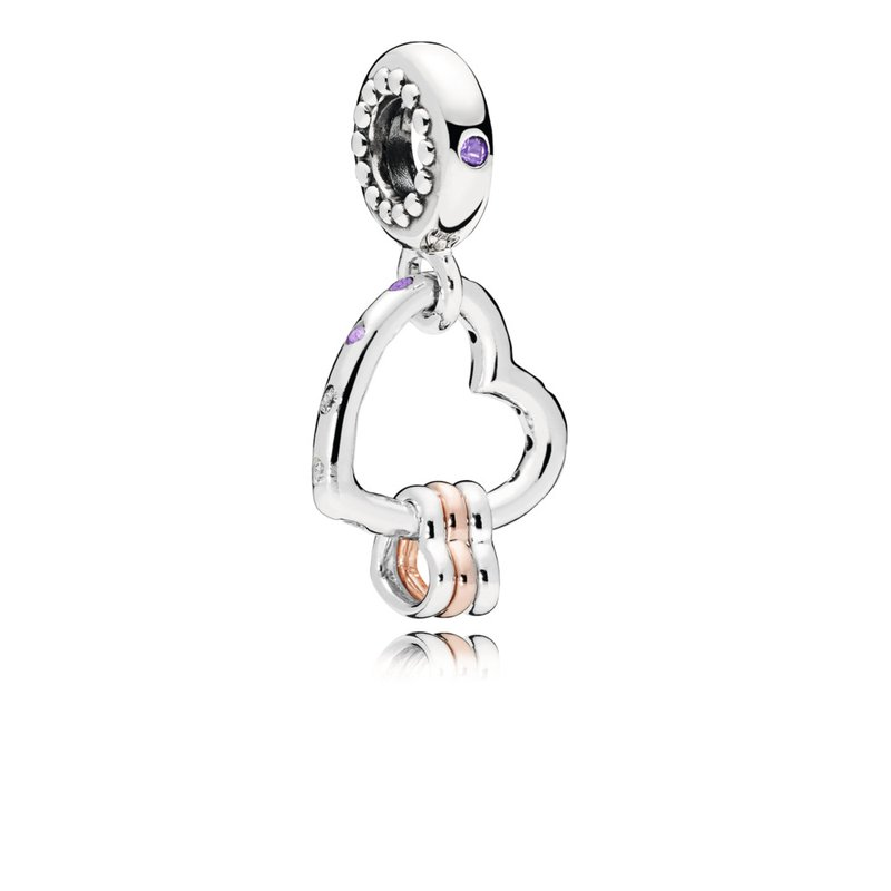 PANDORA Heart Highlights Dangle Charm, Lilac Royal Purple Crystals Clear Cz