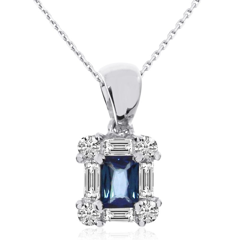 14k White Gold Sapphire and Diamond Baguette Pendant