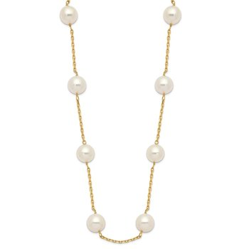 14K 8-9mm Whtie Round Freshwater Cultured Pearl 14-station Necklace