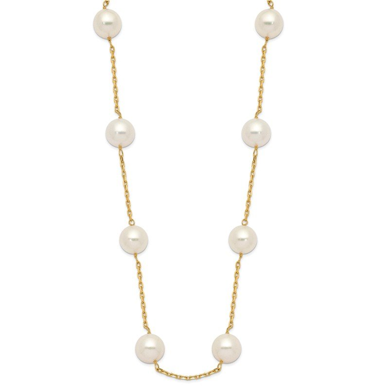 Quality Gold 14K 8-9mm Whtie Round Freshwater Cultured Pearl 14-station Necklace