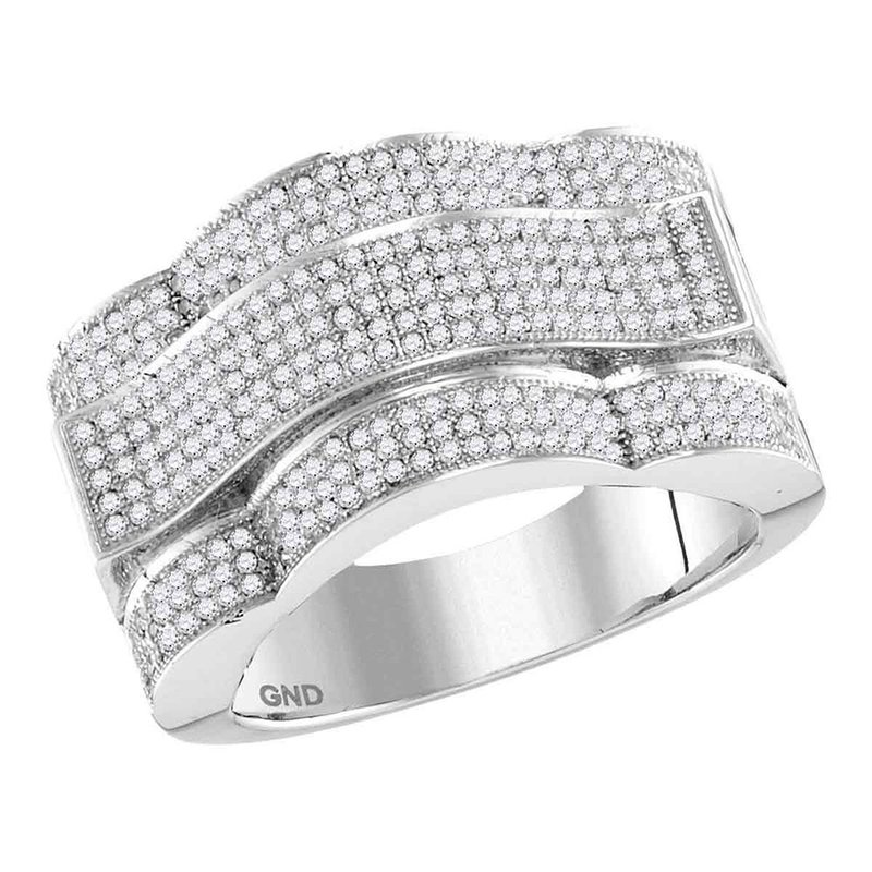 Kingdom Treasures 10kt White Gold Mens Round Diamond Domed Rectangle Cluster Ring 1.00 Cttw