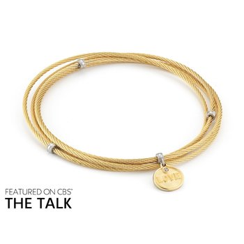 Yellow Cable Affirmation Bangle with Diamond Love Charm