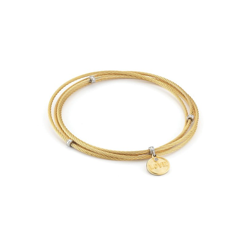 ALOR Yellow Cable Affirmation Bangle with Diamond Love Charm