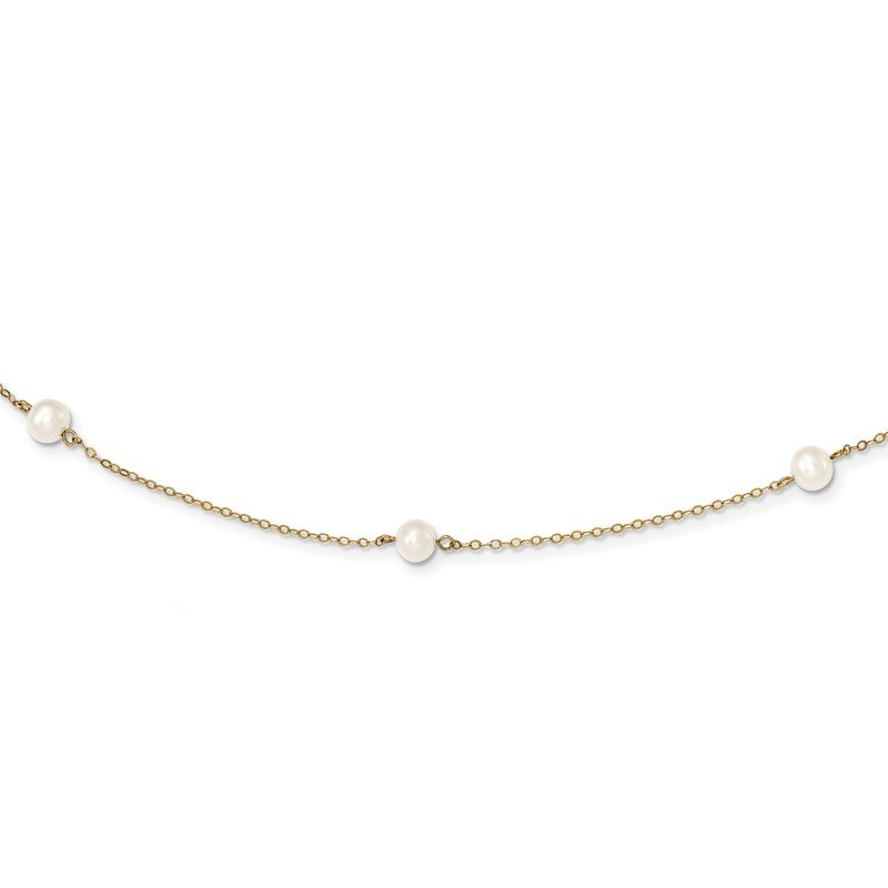 Quality Gold 14K 5-6mm White Near Round Freshwater Cultured Pearl 7-Station Necklace