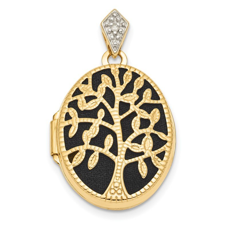 Quality Gold 14k Polished and Textured Diamond Oval Tree w/ Black Fabric Locket