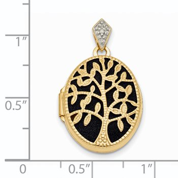 14k Polished & Textured Diamond Tree w/ Black Fabric Oval Locket