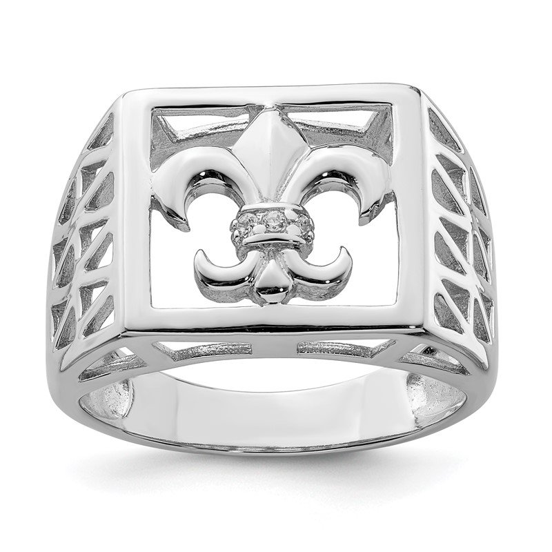 Quality Gold Sterling Silver Rhodium Plated CZ Fleur de lis Ring