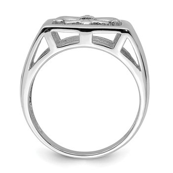 Sterling Silver Rhodium Plated CZ Fleur de lis Ring
