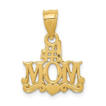 14k Satin Diamond Cut #1 Mom Pendant