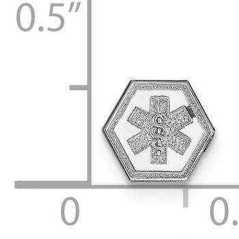 14k White Gold Non-enameled Medical Jewelry Emblem