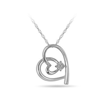 925 SS Diamond Heart Pendant with Heart Interloop