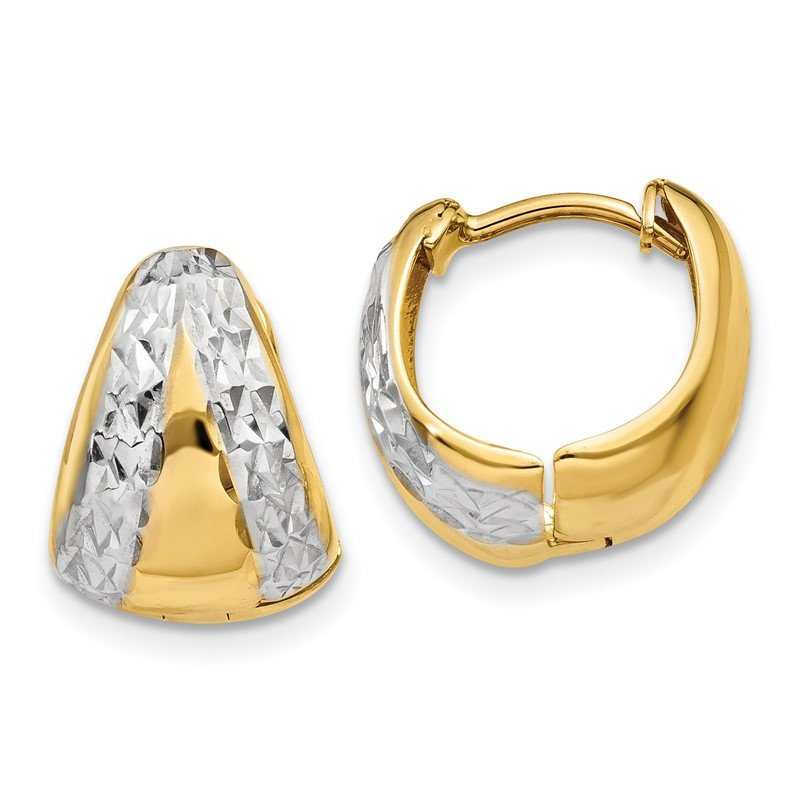 Quality Gold 14k & Rhodium Polished and Textured Hoop Earrings