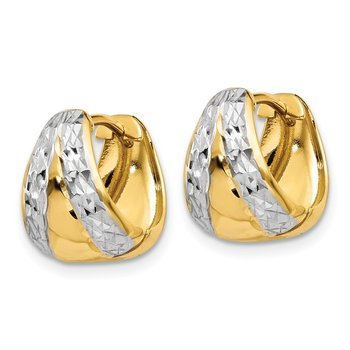 14k & Rhodium Polished and Textured Hoop Earrings