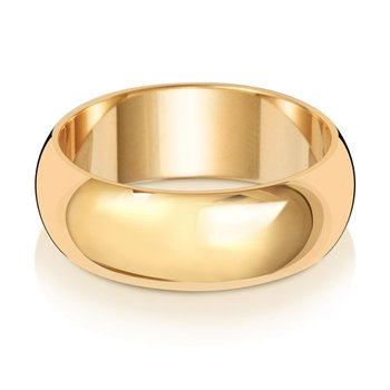 9Ct Yellow Gold 7mm D Shape Wedding Ring