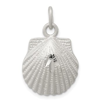Sterling Silver Satin Finish Diamond Cut Shell