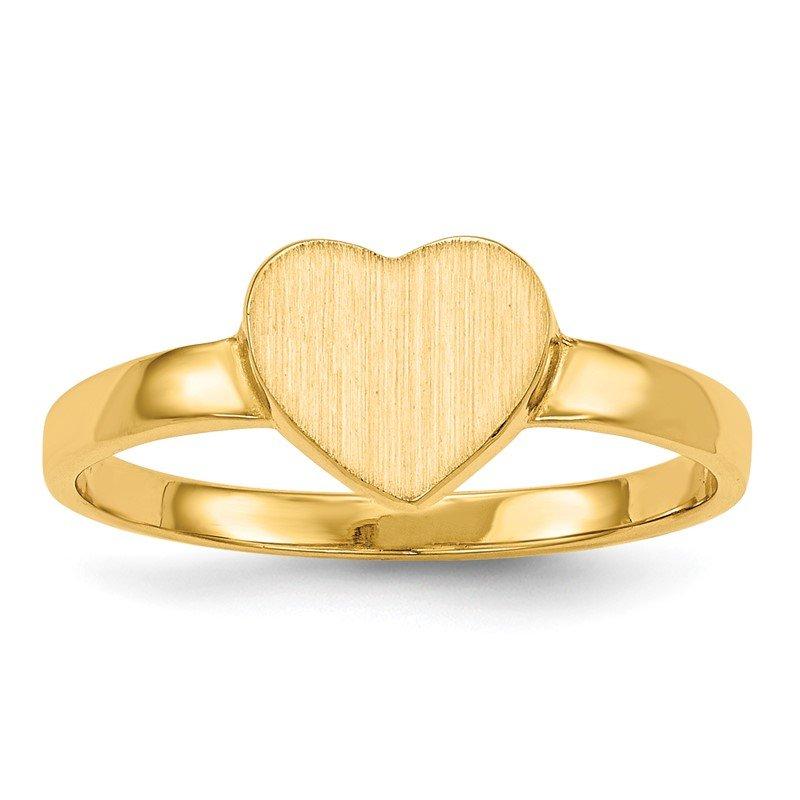 Quality Gold 14k 6.5x7.5mm Open Back Heart Signet Ring