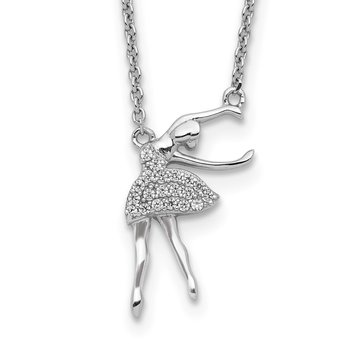 Sterling Silver Rhodium-plated CZ Ballerina w/2in. Ext. Necklace