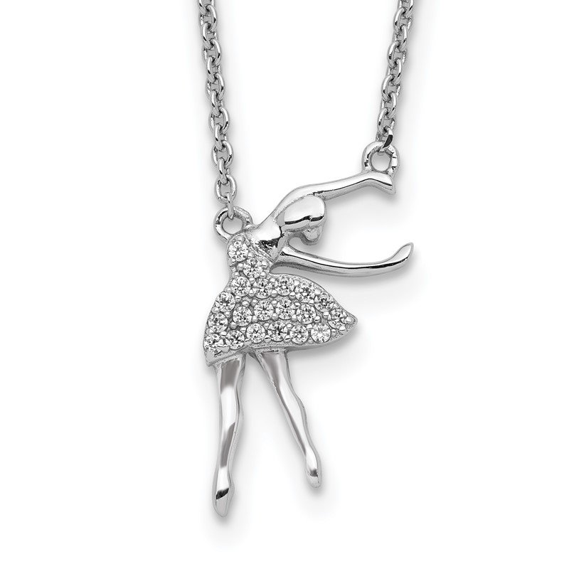 Quality Gold Sterling Silver Rhodium-plated CZ Ballerina w/2in. Ext. Necklace