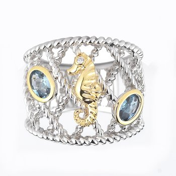 "Sterling Silver and 14K Yellow Gold Sea Horse Ring with Semi-Precious Stones and Diamonds 3/4"" wide on top"