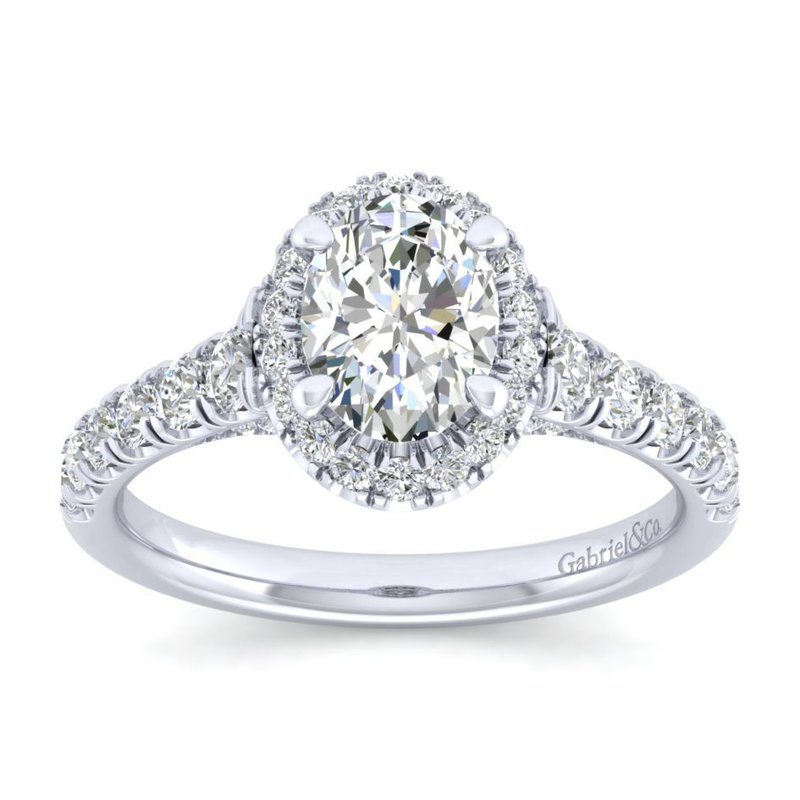 Gabriel & Co. New York 14K White Gold Oval Halo Diamond Engagement Ring