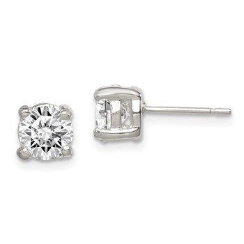 Sterling Silver 6mm Round CZ Stud Earrings