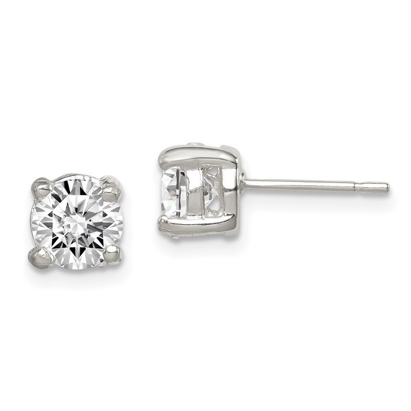 Quality Gold Sterling Silver 6mm Round CZ Stud Earrings