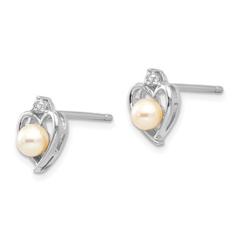 14k White Gold FWCultured Pearl and Diamond Heart Post Earrings
