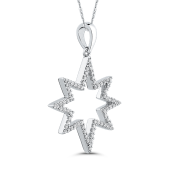 1/4 ct Round Diamond Gold Star Fashion Pendant with Chain