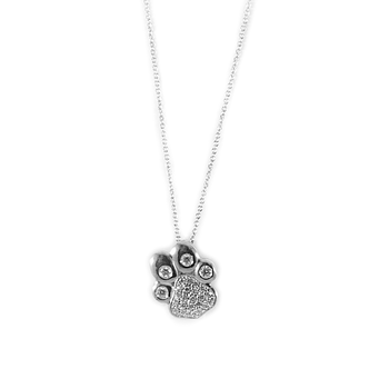 18KT WHITE GOLD DIAMOND PAW PENDANT