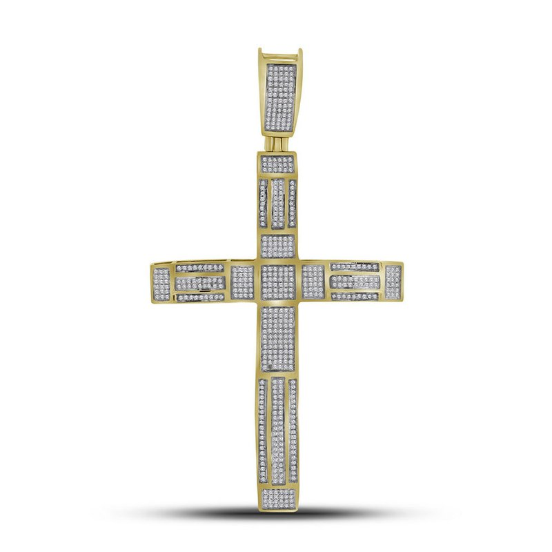 Kingdom Treasures 10kt Yellow Gold Mens Round Pave-set Diamond Roman Cross Charm Pendant 1.00 Cttw