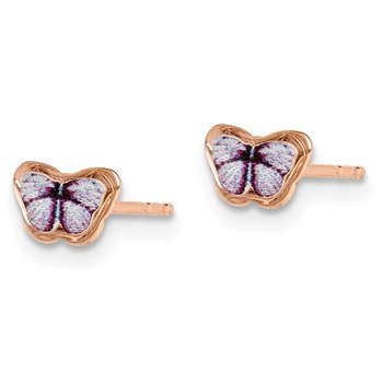 14K Children's Enamel Butterfly Post Earrings