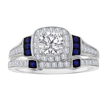 14KW 0.70CTW RD CTR WITH SAPPHIRE BRIDAL SET