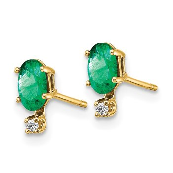 14k Diamond & Emerald Birthstone Earrings