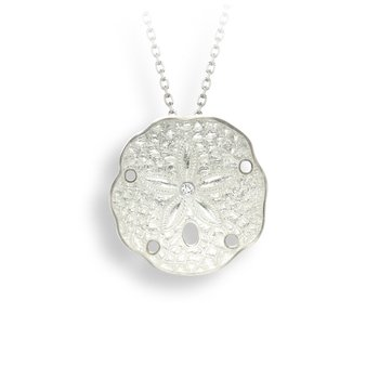 White Sand Dollar Necklace.Sterling Silver-White Sapphire