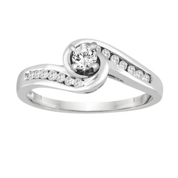 BLISS8: 14KW Swirl Shank Engagement Ring