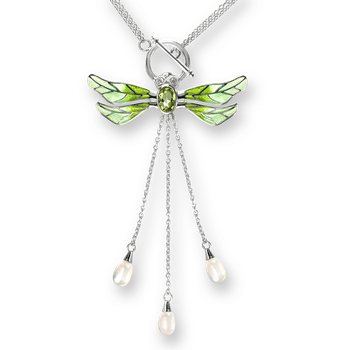 Sterling Silver Dragonfly Necklace-Green. Diamonds, Peridot and Pearl.