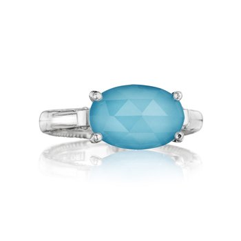East-West Oval Ring featuring Neo-Turquoise