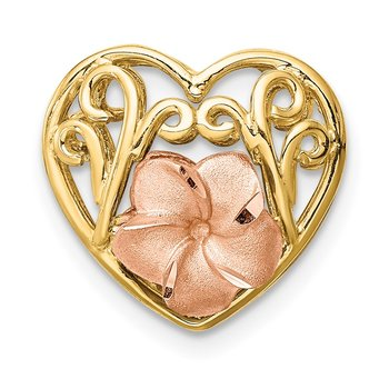 14K Tri-color Brushed & Polished D/C Plumeria Heart Chain Slide