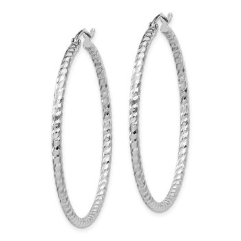 Sterling Silver Rhodium Plated D/C 2x40mm Hoop Earrings