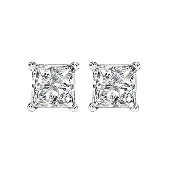 14K P/Cut Diamond Studs 3/4 ctw P1