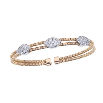 Two-Tone 2 Row Twisted Bangle with Diamond Stations