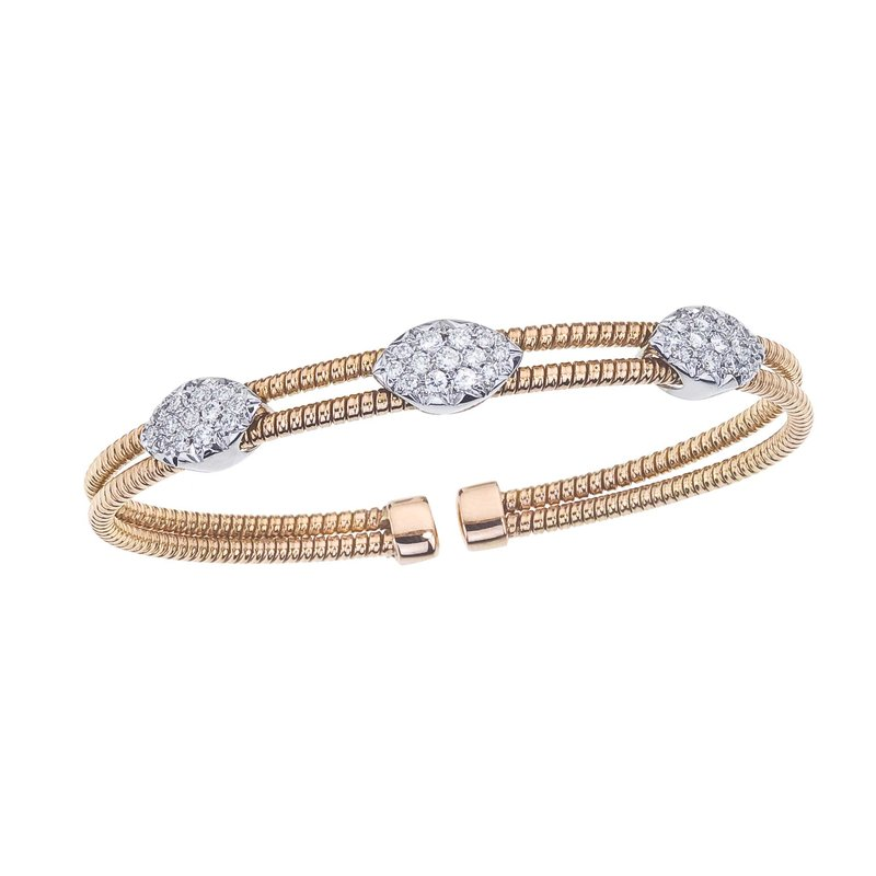 DA Gold Two-Tone 2 Row Twisted Bangle with Diamond Stations